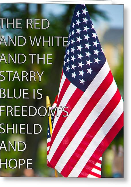 Freedom's Shield Greeting Card by Tom Gari Gallery-Three-Photography