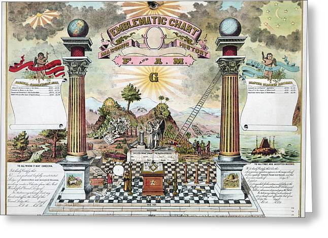 Freemason Emblematic Chart Greeting Card by Granger