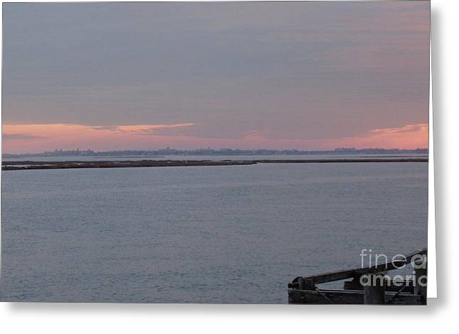 Freeport Winter Sunset At The Nautical Mile Greeting Card by John Telfer