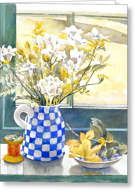 Freesias And Chequered Jug Greeting Card by Julia Rowntree