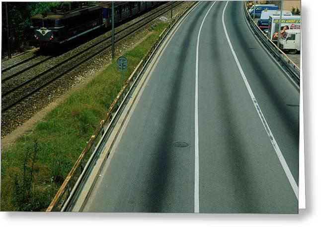 Freeway Running Alongside A Railway Greeting Card