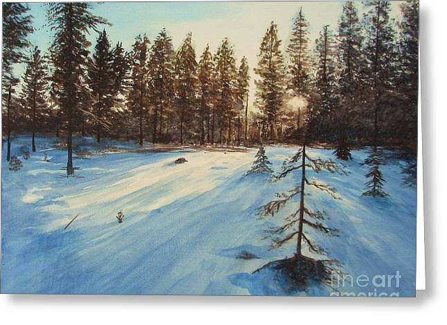 Freezing Forest Greeting Card by Martin Howard