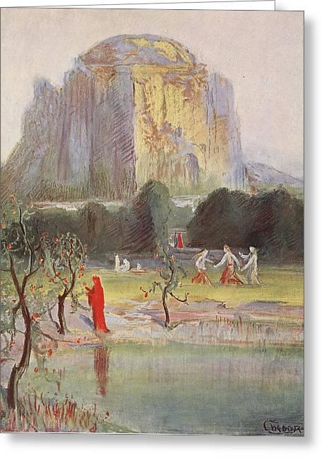 Freias Garden, 1906 Greeting Card by Hermann Hendrich