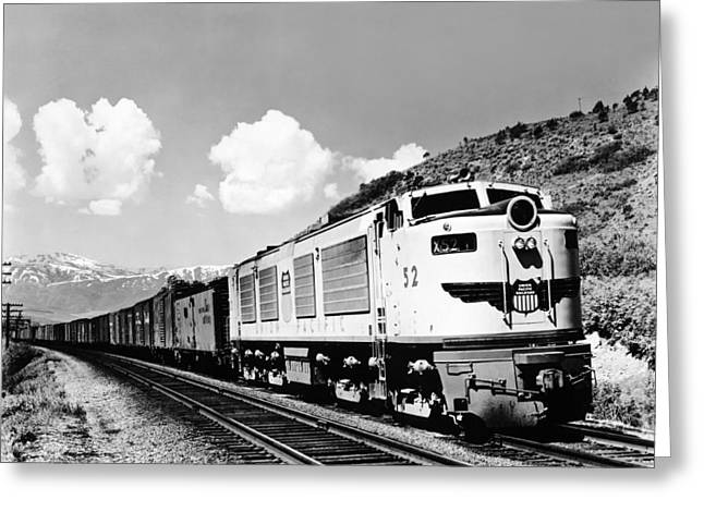 Freight Train In The Mountains Greeting Card by Underwood Archives