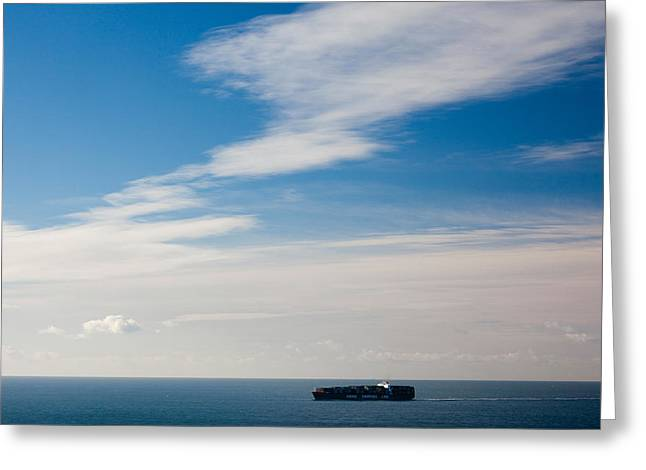 Freighter In The Sea, Point Bonita Greeting Card by Panoramic Images