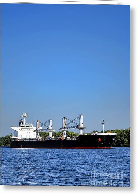 Freighter On River Greeting Card