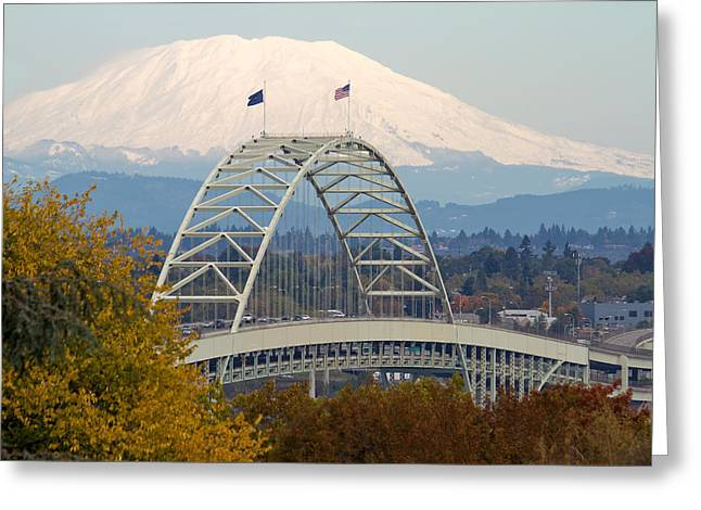 Fremont Bridge And Mount Saint Helens Greeting Card