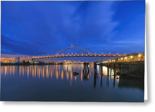 Fremont Bridge Blues Greeting Card by David Gn