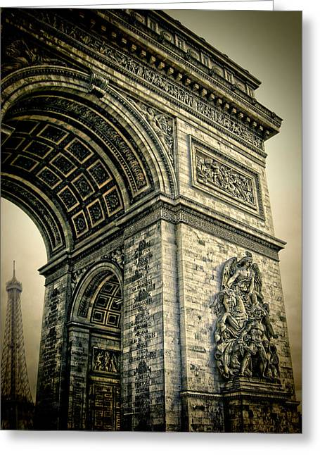 French - Arc De Triomphe And Eiffel Tower Greeting Card by Lee Dos Santos