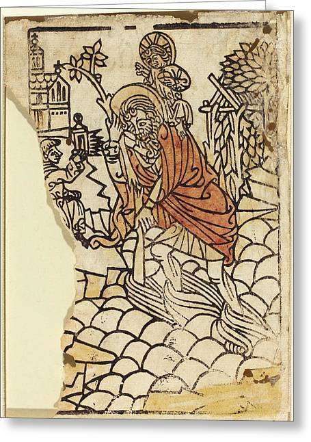 French 15th Century, Saint Christopher Recto Greeting Card
