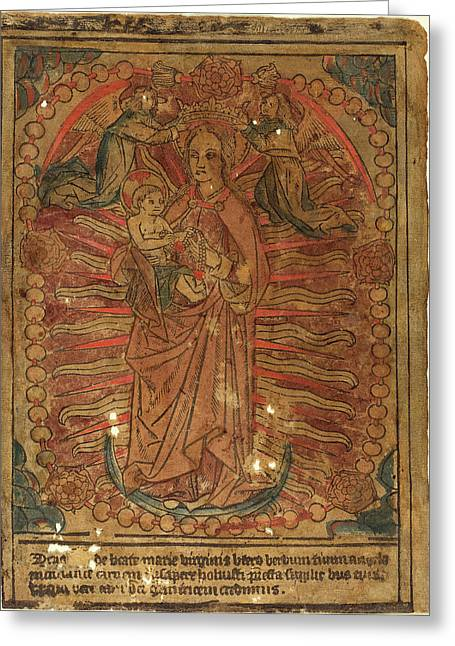 French 15th Century, The Madonna And Child In A Rosary Greeting Card