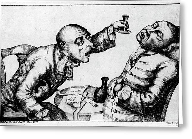 French 18th Century Engraving Of Two Alcoholics Greeting Card by National Library Of Medicine/science Photo Library