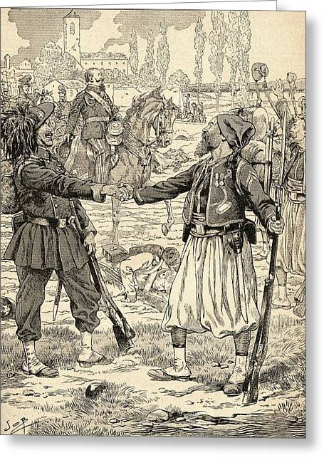 French And Sardinian Soldiers Shaking Hands To Celebrate Their Victory Against The Austrians Greeting Card