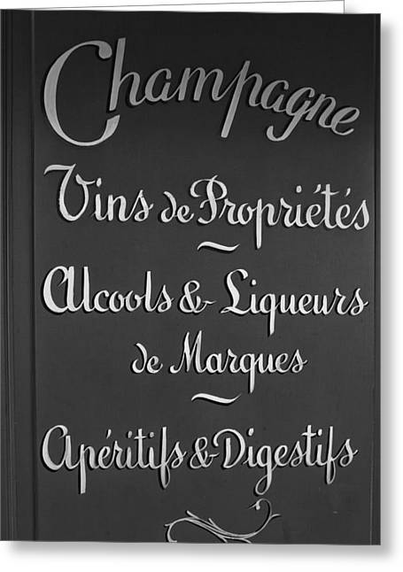 French Bar Sign In Mono Greeting Card by Georgia Fowler