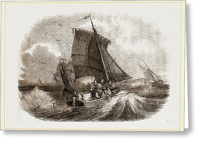 French Boat Angling For Mackerel Greeting Card