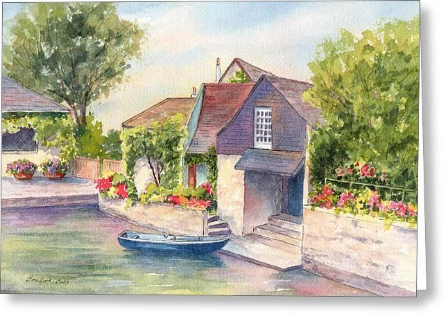 French Boathouse  Azay Le Rideau Greeting Card by Vikki Bouffard
