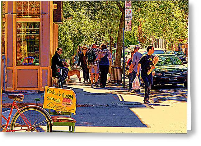 French Bread On Laurier Street Montreal Cafe Scene Sunny Corner With Vente De Garage Sign Greeting Card by Carole Spandau