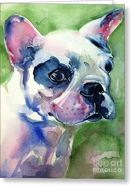 French Bulldog Painting Greeting Card by Maria's Watercolor