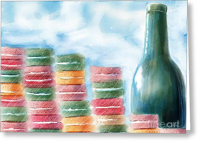 French Cafe Skyline Greeting Card by Kim Niles