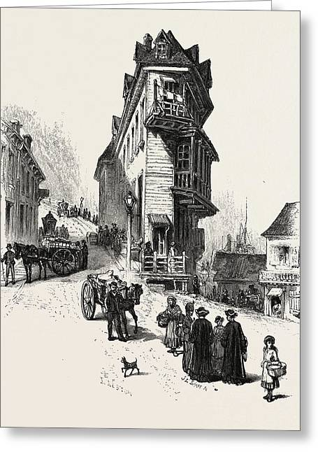 French Canadian Life, Old Houses At Point Levis Greeting Card