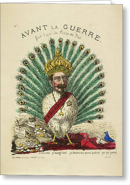 French Caricature - Avant La Guerre Greeting Card by British Library
