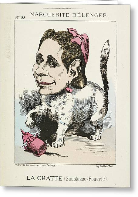 French Caricature - La Chatte Greeting Card by British Library