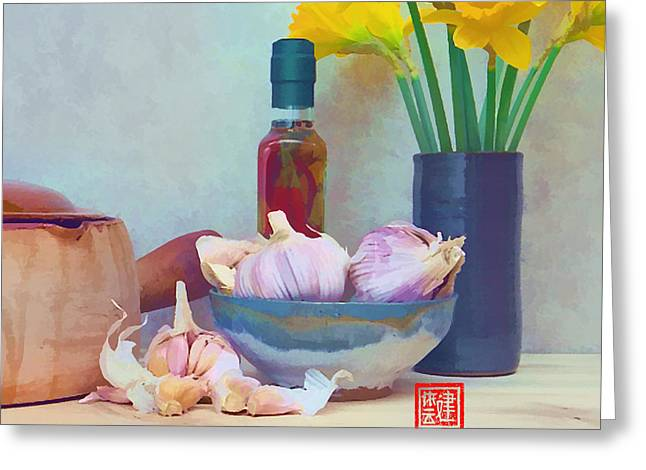 French Casserole And Daffodils Iv Greeting Card by Ken Evans