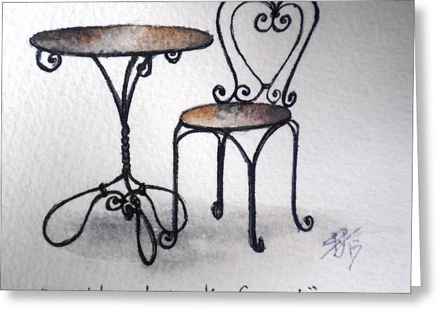 French Chair And Table Greeting Card by Sandra Phryce-Jones