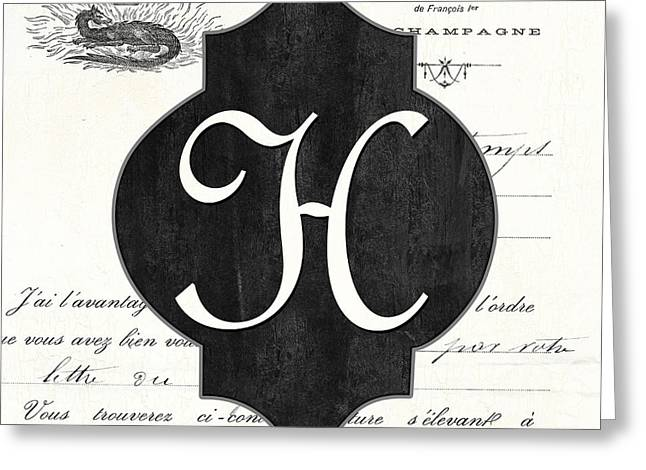 French Champagne Monogram Greeting Card by Debbie DeWitt