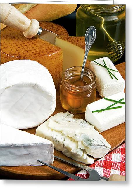French Cheeses And Honey Greeting Card by Nico Tondini