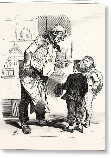French Cook Talking With Two Children, Europe Greeting Card by French School