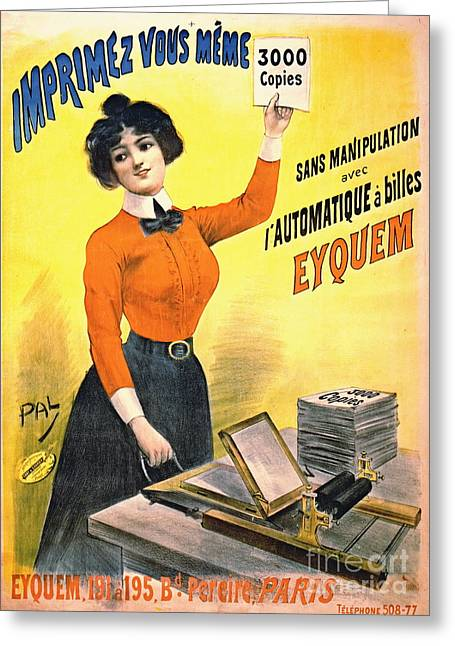 French Copier Ad 1899 Greeting Card by Padre Art