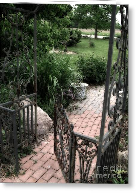 French Cottage Garden Arbor And Gate - French Cobblestone Brick Garden Path Greeting Card by Kathy Fornal