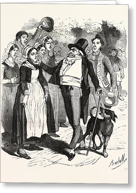 French Count And His Dog On A Walk In The Village Greeting Card by French School