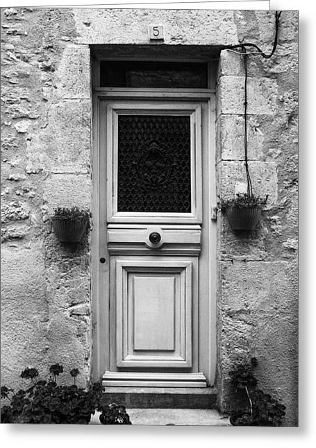 French Door In Mono Greeting Card