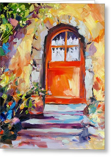 French Door Greeting Card by Rae Andrews