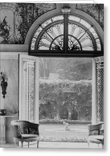 French Doors Leading To A Garden Greeting Card by Wynn Richards