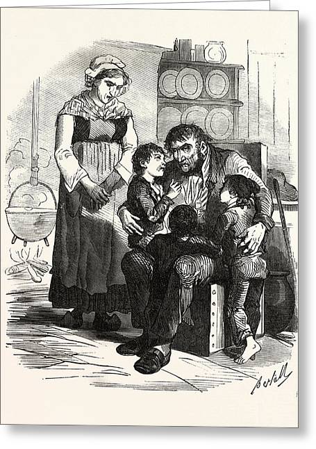 French Family In The Kitchen, France. Interior, Kitchen Greeting Card by French School