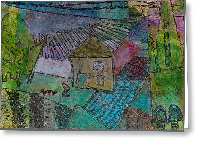 Greeting Card featuring the mixed media French Farm by Catherine Redmayne