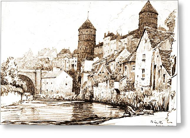 French Fortified Town 1922 Greeting Card by Padre Art
