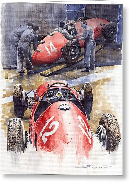 French Gp 1952 Ferrari 500 F2 Greeting Card by Yuriy  Shevchuk
