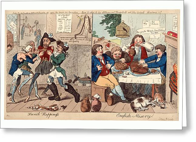 French Happiness English Misery, Cruikshank, Isaac Greeting Card by Litz Collection