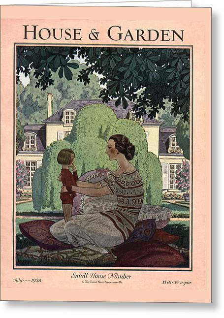 French Haute-bourgeois Domestic Scene Greeting Card by Pierre Brissaud