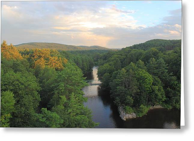 French King Bridge View Of Millers River Greeting Card by John Burk
