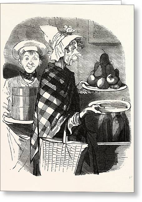 French Lady And A Cook Bring The Desserts Greeting Card by French School