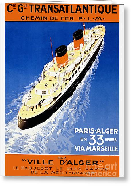 French Line Vintage Travel Poster Greeting Card by Jon Neidert