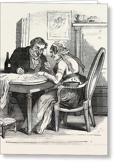 French Man And Woman Playing Cards, Europe Greeting Card by French School