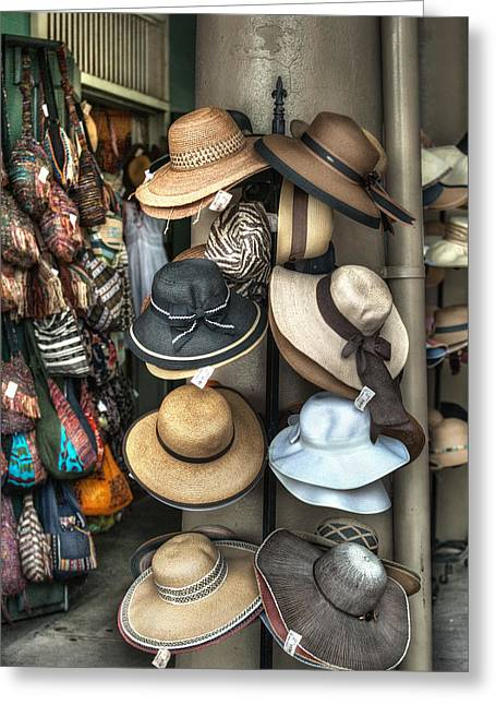 French Market Hats For Sale Greeting Card by Brenda Bryant
