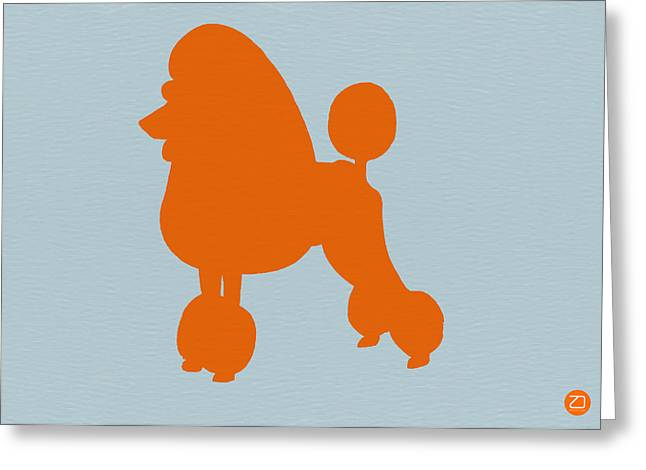 French Poodle Orange Greeting Card by Naxart Studio
