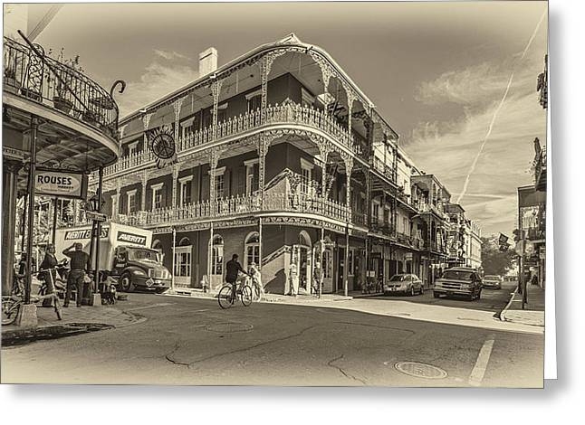 French Quarter Afternoon Sepia Greeting Card by Steve Harrington